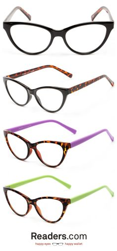 This exclusive style was made just for Readers.com with your specific tastes in mind. Pops of color with a gorgeous cat eye shape create a pair of reading glasses for the modern age.