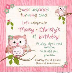 Hoot Owl Twin Birthday Invitation - Spring Girls Pink Leaves Flowers
