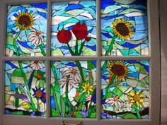 6 pane old wooden windows with stained glass | Stained Glass Mosaic Vintage Window by TinasMosaics on Etsy