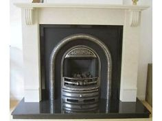 Beautiful Cream/Ivory Marble Fireplace Surround with Ornate Black/Silver Back Panel & Gas Fire Burnside, Rutherglen Picture 1