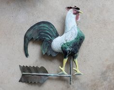Vintage Hand Painted Copper Two Sided Rooster, Weathervane Top, Wall Decor…
