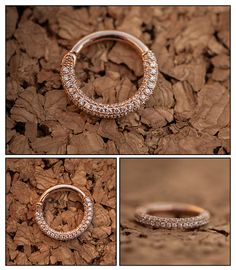 Made+from+solid+14k+Rose+Gold+and+encrusted+with+CZs,+this+piece+is+breathtaking!!+    Clicker+ring+-+operates+on+a+hinge.+Simple+to+insert+and+remove!    Jewelry+by+Venus