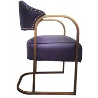 """Empiric 2042-03 Lawatch Chair Description: Style 2042-02  chair offered exclusively by Empiric.   Shown and available immediately in Arizona Navy Leather, $1525 ea. Dimensions:  22""""W X 21""""D X 33""""H. Seat height 18"""" Materials: Rolled Square Tube Steel, Upholstery Item ID: 2042-03 COM Price: $1360. (1.5 yds required)"""