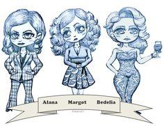 My three favorite Hannibal ladies - Alana Margot and Bedelia fanart.