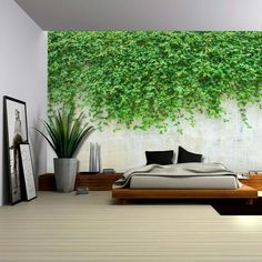 Green Vines Dropping to a Cement Wall - Wall Mural Large Wall Murals, Removable Wall Murals, Mural Wall, Wall Decals, Photo Wallpaper, Wall Wallpaper, Forest Mural, Forest Art, Deep Forest