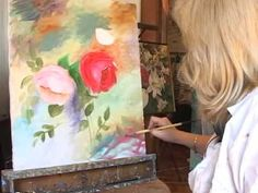 Como pintar con espátula - Cuadro Jarron con Flores Gabriela Mensaque - YouTube