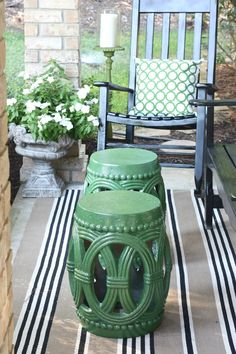 Garden stools spray painted with Krylon in the color Seaweed.