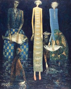 ∴ Trios ∴ the three graces, sisters, triplets & groups of 3 in art and vintage photos - Three Women by Paul Martin (Britain, Work Inspiration, Painting Inspiration, Koi, Paul Martin, Bright Art, Art For Art Sake, Naive Art, Fish Art, Pretty Art