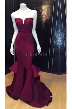Plunging Strapless Mermaid Layers Satin Evening Dress