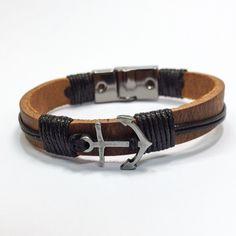 Pulseira masculina couro e âncora. Bracelets pulseiras mens Anchor âncora  www.ovniacessorios.com.br