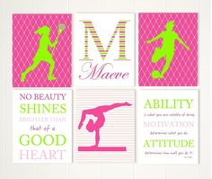 Pre teen girl gift idea, lacrosse, gymnastics, gymnast girl wall art, soccer wall art, girls wall art, girl inspirational art, set of 6 by PicabooArtStudio