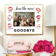Kiss the Miss Goodbye Image Frame Insert (fr) Bachelorette party (in English) Bridal shower (fr) Frame NOT included - A memory of his evjf - Bachlorette Party, Beach Bachelorette, Bachelorette Photo Booth, Simple Bridal Shower, Bridal Shower Games, Bridal Shower Decorations, Bachelorette Party Decorations, Party Pictures, Party