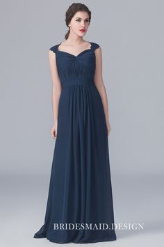 Designer Navy Cap Sleeve Keyhole Lace Long Chiffon A-line Bridesmaid Dress is for Sale! Buy Navy Cap Sleeve Keyhole Lace Long Chiffon A-line Bridesmaid Dress at BridesmaidDesigners Now! Lace Bridesmaids Gowns, Romantic Bridesmaid Dresses, Affordable Bridesmaid Dresses, Designer Bridesmaid Dresses, Bridesmaid Dress Styles, Navy Chiffon Dress, Lace Dress, Lace Chiffon, Batik Dress