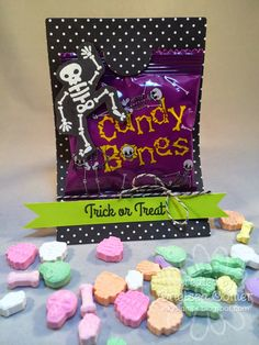 Chelsea's Creative Corner: Candy Bones .... New skeleton stamp set called Kick up Your Heels.  Gift Hard holder fits small packages of candy PERFECTLY!!!