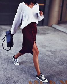 Love this outfit!! Sweater - yes, Split skirt - yes and sneakers! Perfect!