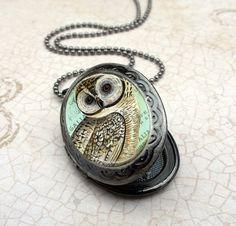 Owl Locket Necklace  Gunmetal Locket with Matching by Lizabettas, $19.00