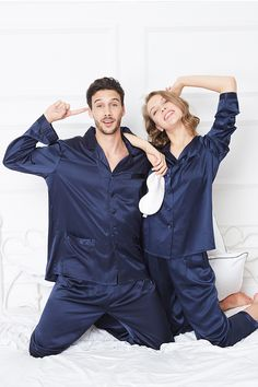 22 Momme Classic Full Length Silk Couple Pajamas Sets#hisandher #pajamaset #pajamassatin #silkpajamas