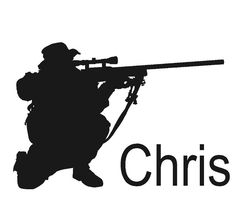 Soldier decal, Sniper decal, Military sticker, Vinyl wall decor, 20 X 28 inches
