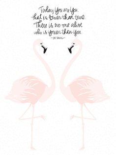 Flamingos on White Art Print