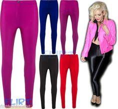 Disco Pants Wet Look Shiny High Waist Button Leggings Full Length Jeggings 8-14