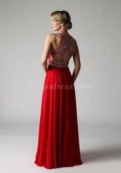 Long A-line Chiffon Beaded Sleeveless V-neck Prom Dress picture 2