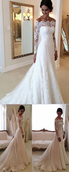 Cheap Ivory Vintage Long Sleeves Wedding Dresses e6505d02f
