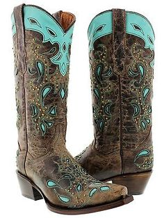 women's brown turquoise studded western leather cowboy cowgirl rodeo boots snip