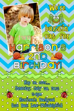 Boy Bug Birthday Invitation