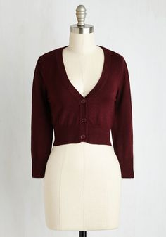 The Dream of the Crop Cardigan in Burgundy | Mod Retro Vintage Sweaters | ModCloth.com