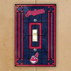 Cleveland Indians Navy Blue Art-Glass Switch Plate Cover
