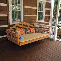Swing bed - To go with the matching Pergola Bed Stand. Porch Bed, Porch Swings, Bed Swings, Diy Porch, Jardin Decor, Bed Stand, Hammock Stand, Cedar Pergola, Wooden Pergola