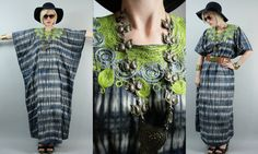 SALE Vintage Blue Tie Dye w/ Green Ethnic  Embroidered Collar Caftan Maxi Dress. $30.00, via Etsy.