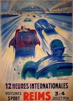 Geo Ham Grand Prix Of Reims 1954 - lieselotte Grand Prix, Vintage Sports Cars, Vintage Race Car, Automobile, Reims, Classic Motors, Car Posters, Automotive Art, Courses