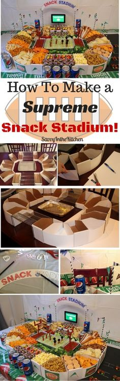 Create a DIY snack stadium for your game day party. This football stadium is per. - Create a DIY snack stadium for your game day party. This football stadium is perfect for tailgating - Diy Snacks, Game Day Snacks, Snacks Für Party, Game Day Food, Party Appetizers, Game Party, Appetizer Recipes, Appetizers Superbowl, Cheap Appetizers