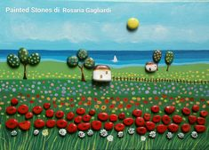 Spring naive landscape From the series - The colors of my country - wonderful . Pebble Painting, Pebble Art, Stone Painting, Naive, Pebble Pictures, Rock Painting Designs, Stone Crafts, Sea Glass Art, Pastel Art