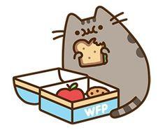 pusheen eats her lunch(: apple cookie and sammich Kawaii 365, Kawaii Cute, Pusheen Stickers, Pusheen Love, Gato Anime, Simons Cat, Cute Cartoon, Cute Drawings, Cute Wallpapers