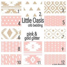 Little Oasis Tribal crib bedding set! Pink and gold glitter by E.Ivie designs. Create a nursery you love, order one item or a set!
