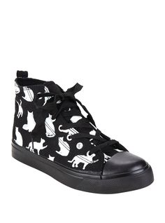 <p>You'll be feline fine walking around in these black hi-top sneakers with a white cat silhouette print. Meow.</p>  <p>Hot Topic exclusive</p>  <ul> 	<li>Runs true to size</li> 	<li>100% man-made materials</li> 	<li>Listed in women's sizes</li> 	<li>Imported</li> </ul>  <p> </p>