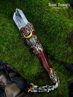 KEEPER OF SECRETS - Twin Quartz Crystal Wand With Labradorite and Bobcat Claw Dangles by Susan Tooker of Spinning Castle.