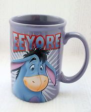 EEYORE DISNEY WINNIE THE POOH 3D COFFEE MUG CUP PURPLE CERAMIC STILL GLOOMY NEW