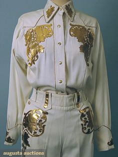 """2 piece white wool gabardine w/ gold leaf leather applique, worn by Miss Rodeo of Laredo, Texas, 1948, label: """"Westerns by Missie"""",  Western Wedding Suit, 1948, close-up"""