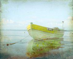 Vintage Yellow Boat Beach Print  Home Decor by SevenElevenStudios, $25.00