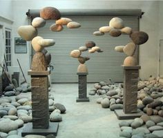 Incredible Stone Sculptures by American Artist Woods Davy I love the weightlessness used with such heavy objects---Floating Stones Sculpture by Woods Davy ^The art of sculptor Woods Davy is both inspired by nature and composed of natural elements. Garden Art, Garden Design, Diy Garden, Rock Sculpture, Stone Sculptures, Art Sculptures, Garden Sculptures, Abstract Sculpture, Bronze Sculpture