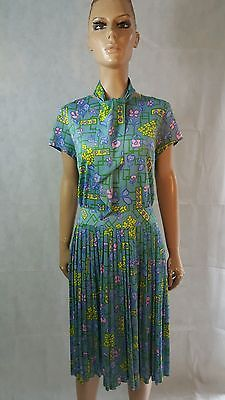 60s/70s Vintage Tootal Floral Pleat Dress With Tie Mod