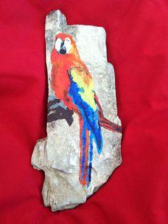 Beautiful Hand Painted Parrot on Mississippi Petrified Wood.    #artsandcrafts #petrifiedwood #fossil #rock #minerals #handpainted #originalart #nature #decor #naturedecor #crafts #art #parrot #bird #feathers