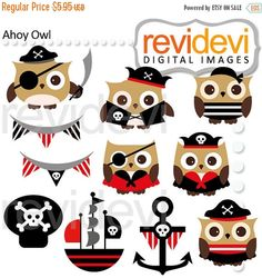 60% OFF SALE Ahoy Owl Cliparts 07493.. Pirate hoot by revidevi