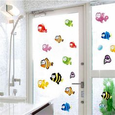 Starfish Flatfish Bubble Wall Stickers For Bathroom Kids Room Decoration Cartoon Flounder Sealife Mural Art Nursery Home Decals