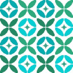 This simple pattern of round flowers and matching leaves is inspired by designs from the 60s and 70s and the colour palette of turquoise blues and blue greens gives it a certain freshness and a playful twist.  The repeat shapes mean it's quite easy to embroider but this will also make any mistake more visible, so I'd recommend not to get too blasé about it and to work it with the same care you'd put into a much more complicated design. The project is worked on 119X119 stitches and the…