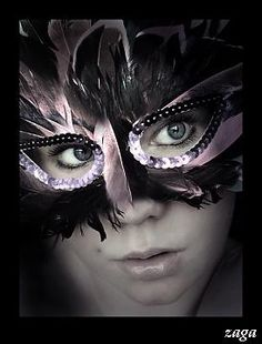 Black and pink mask