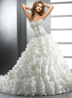 Ball Gown Sweetheart Tiers Cascading-Ruffles Appliques Wedding Dress